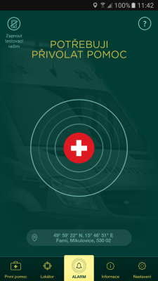 Screenshot aplikace Záchranka